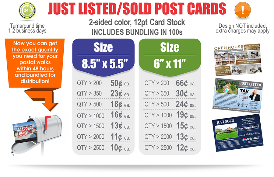Lowest Prices for Real Estate Postcards Just Listed Just Sold in Toronto, Brampton, Mississauga, Vaughan, Oakville, Milton, Vaughan, Richmond Hill, Woodbridge